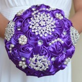 Wedding Holding Pearl Diamond Flowers Bridal Bouquet Accessories Bridesmaid Rhinestone Party Wedding Decoration Supplies (Purple)