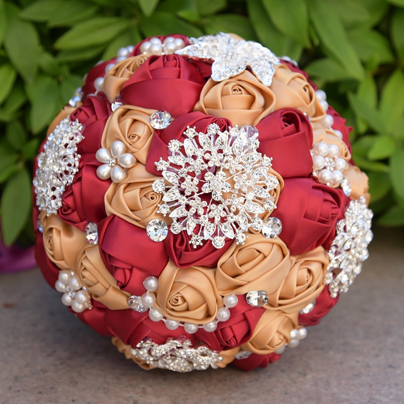 Wedding Holding Pearl Diamond Flowers Bridal Bouquet Accessories