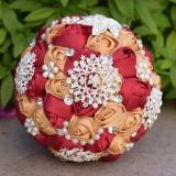 Wedding Holding Pearl Diamond Flowers Bridal Bouquet Accessories Bridesmaid Rhinestone Party Wedding Decoration Supplies (Red)
