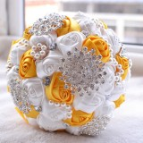 Wedding Holding Pearl Diamond Flowers Bridal Bouquet Accessories Bridesmaid Rhinestone Party Wedding Decoration Supplies (Yellow)