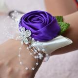 Handmade Wedding Bride Wrist Flower Boutonniere Bouquet Corsage Diamond Satin Rose Flowers (Dark Purple)