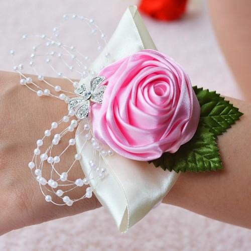 Handmade Wedding Bride Wrist Flower Boutonniere Bouquet Corsage Diamond Satin Rose Flowers (Pink)
