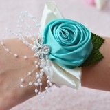 Handmade Wedding Bride Wrist Flower Boutonniere Bouquet Corsage Diamond Satin Rose Flowers (Green)