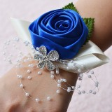 Handmade Wedding Bride Wrist Flower Boutonniere Bouquet Corsage Diamond Satin Rose Flowers (Blue)