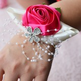 Handmade Wedding Bride Wrist Flower Boutonniere Bouquet Corsage Diamond Satin Rose Flowers (Magenta)