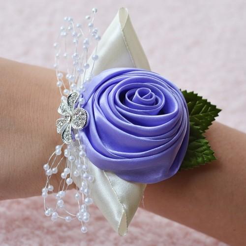 Handmade Wedding Bride Wrist Flower Boutonniere Bouquet Corsage Diamond Satin Rose Flowers (Purple)