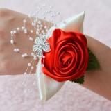 Handmade Wedding Bride Wrist Flower Boutonniere Bouquet Corsage Diamond Satin Rose Flowers (Red)