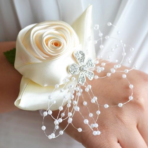 Handmade Wedding Bride Wrist Flower Boutonniere Bouquet Corsage Diamond Satin Rose Flowers (White)