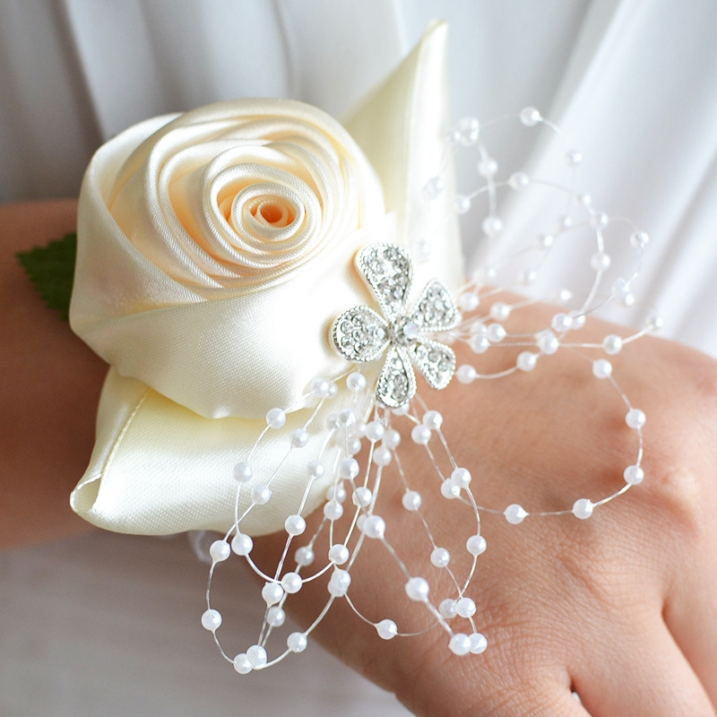 Handmade Wedding Flowers: Handmade Wedding Bride Wrist Flower Boutonniere Bouquet