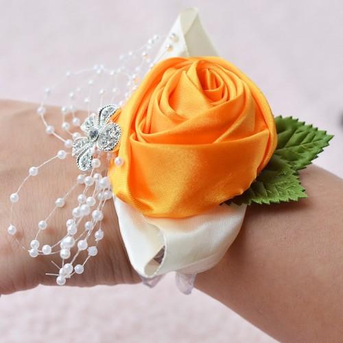 Handmade Wedding Bride Wrist Flower Boutonniere Bouquet Corsage Diamond Satin Rose Flowers (Orange)