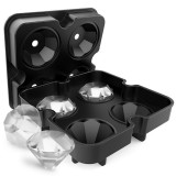 New 4 Cavity Diamond Shape 3D Ice Cube Mold Maker Bar Party Silicone Trays Chocolate Mold Kitchen Tool