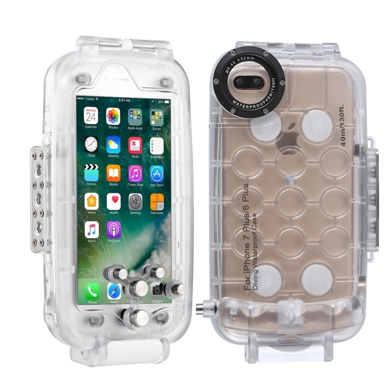 get cheap 039db 32cfe HAWEEL for iPhone 8 Plus & 7 Plus 40m Waterproof Diving Housing Photo Video  Taking Underwater Cover Case (Transparent)