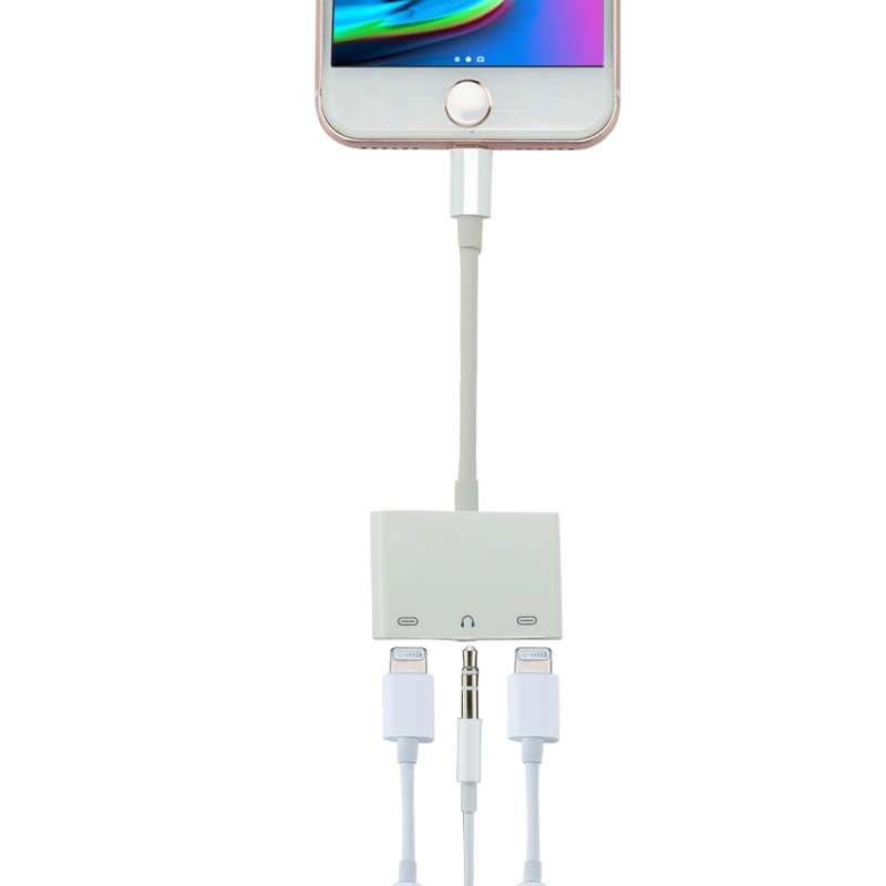 8 Pin Male to Dual 8 Pin Female & 3.5mm Female Audio Adapter, For iPhone X & iPhone 8 & 7, iPhone 8 Plus & 7 Plus