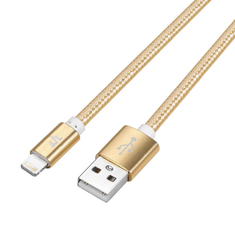 YF-MX04 3m 2.4A MFI Certificated 8 Pin to USB Nylon Weave Style Data Sync Charging Cable For iPhone X / iPhone 8 & 8 Plus / iPhone 7 & 7 Plus / iPhone 6 & 6s & 6 Plus & 6s Plus / iPhone 5 & 5S & SE & 5C / iPad (Gold)
