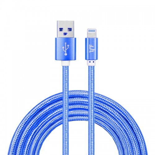 YF-MX04 3m 2.4A MFI Certificated 8 Pin to USB Nylon Weave Style Data Sync Charging Cable For iPhone X / iPhone 8 & 8 Plus / iPhone 7 & 7 Plus / iPhone 6 & 6s & 6 Plus & 6s Plus / iPhone 5 & 5S & SE & 5C / iPad (Blue)