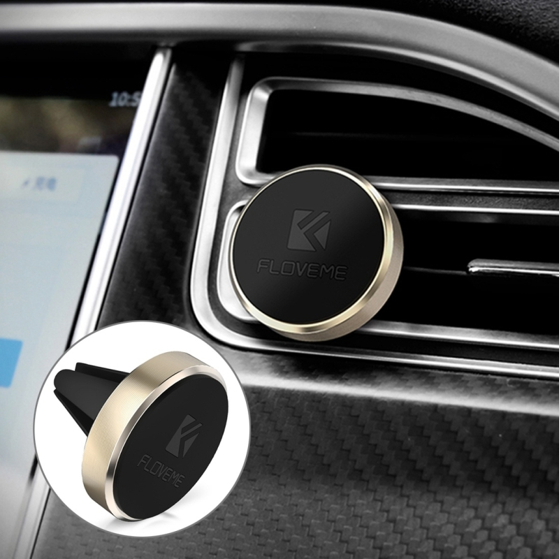 FLOVEME Universal Magnetic Car Air Outlet Vent Mount Phone Holder Stand, For iPhone, Galaxy, Sony, Lenovo, HTC, Huawei, and other Smartphones (Gold)