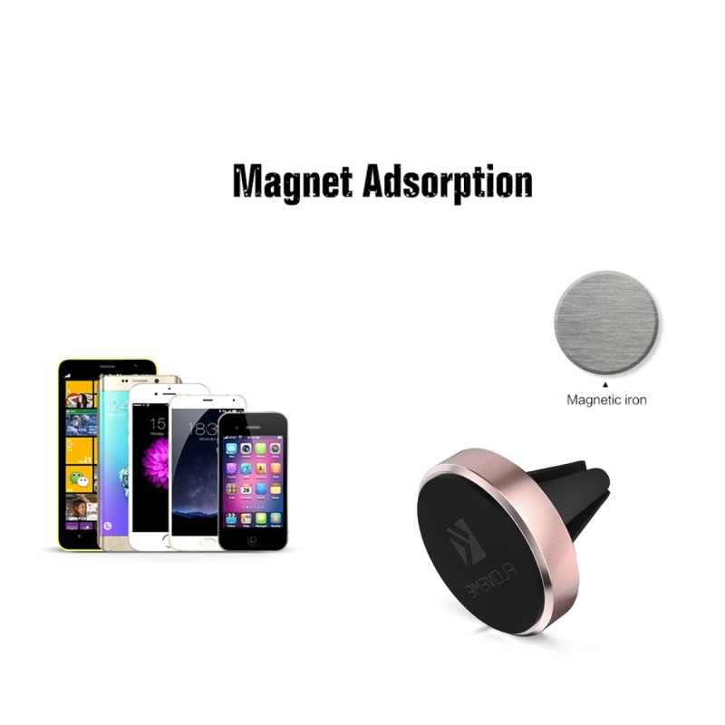 FLOVEME Universal Magnetic Car Air Outlet Vent Mount Phone Holder Stand, For iPhone, Galaxy, Sony, Lenovo, HTC, Huawei, and other Smartphones (Rose Gold)