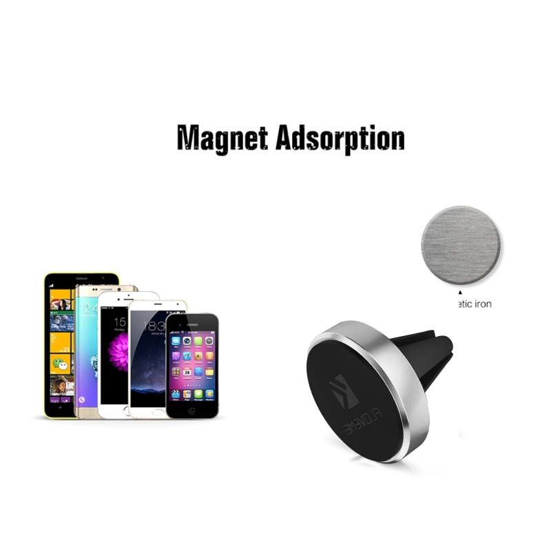 FLOVEME Universal Magnetic Car Air Outlet Vent Mount Phone Holder Stand, For iPhone, Galaxy, Sony, Lenovo, HTC, Huawei, and other Smartphones (Silver)