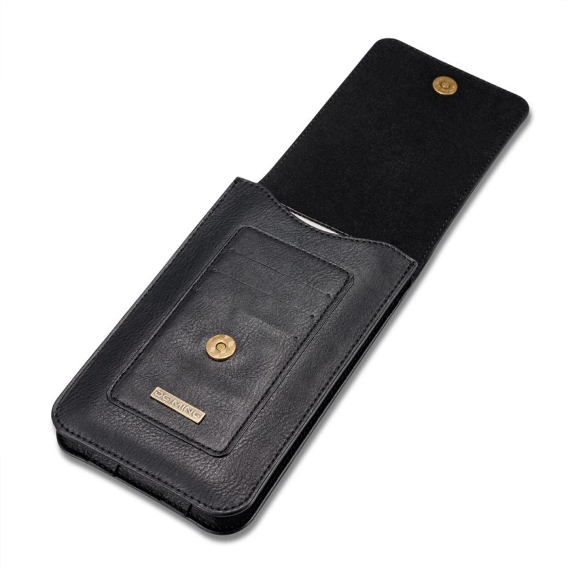 DG.MING Universal Cowskin Leather Protective Case Waist Bag with Card Slots & Hook, For iPhone, Samsung, Sony, Huawei, Meizu, Lenovo, ASUS, Oneplus, Xiaomi, Cubot, Ulefone, Letv, DOOGEE, Vkworld, and other Smartphones Below 5.2 inch (Black)