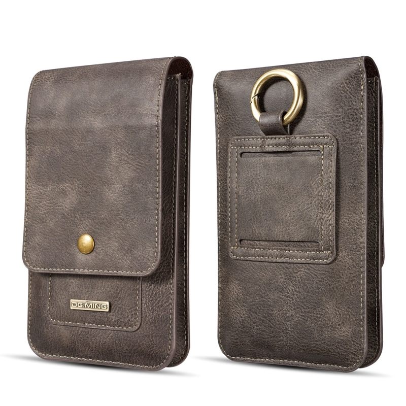 DG.MING Universal Cowskin Leather Protective Case Waist Bag with Card Slots & Hook, For iPhone, Samsung, Sony, Huawei, Meizu, Lenovo, ASUS, Oneplus, Xiaomi, Cubot, Ulefone, Letv, DOOGEE, Vkworld, and other Smartphones Below 5.2 inch (Grey)