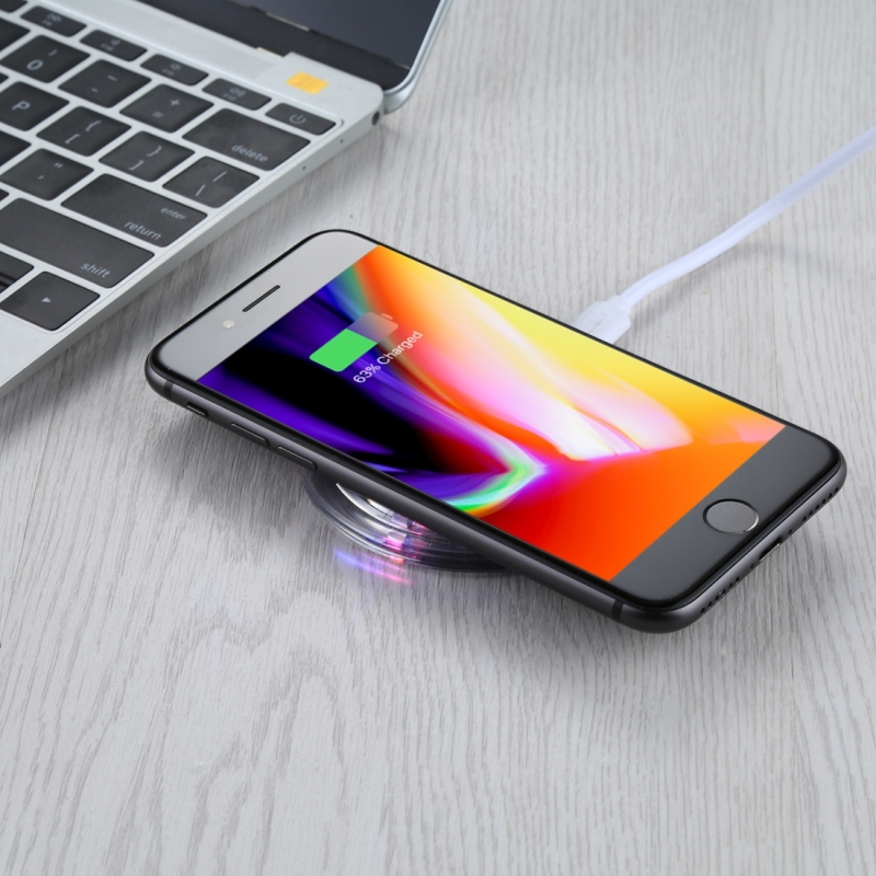 FANTASY 5V 1A Output Qi Standard Ultra-thin Wireless Charger with Charging Indicator, Support QI Standard Phones, For iPhone X & 8 & 8 Plus, Galaxy S8 & S8+, LG G3 & G2 & G10, Nokia Lumia 820, Google Nexus 6 & 5 & 4 and Other QI Standard Smartphones (Black)