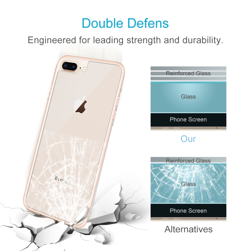For iPhone 8 Plus & 7 Plus 0.3mm 9H Surface Hardness 2.5D Curved Edge Explosion-proof Premium Tempered Glass Back Screen Protector