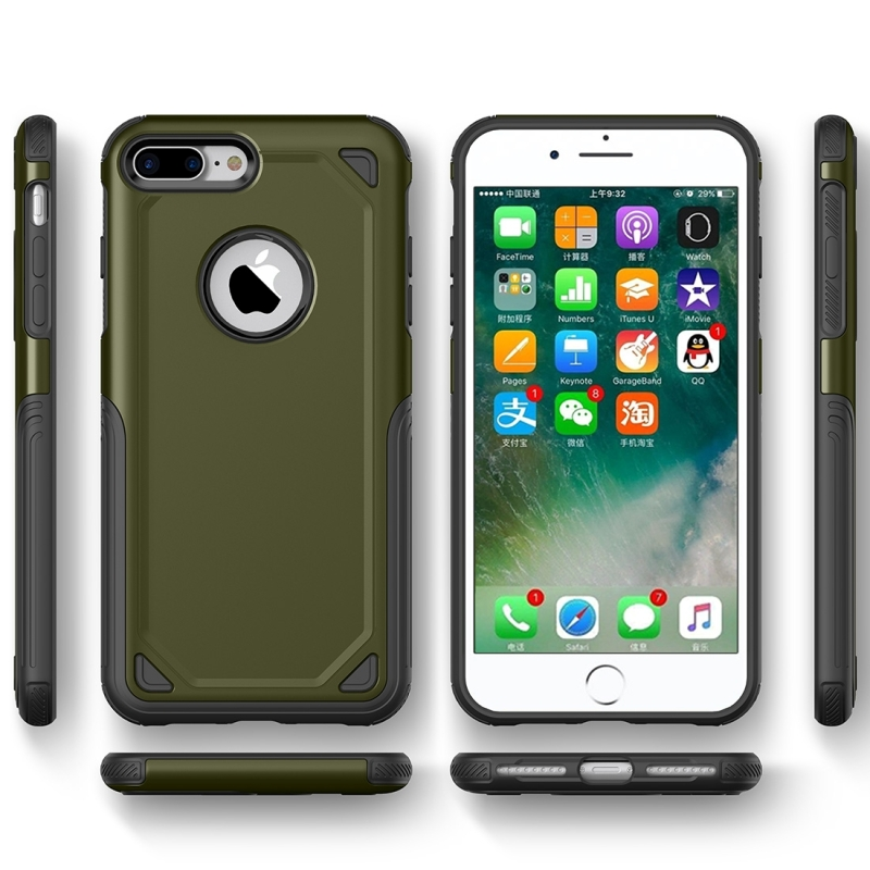 uk availability a29bb fbc3c For iPhone 8 Plus & iPhone 7 Plus Shockproof Rugged Armor Protective Case  (Army Green)