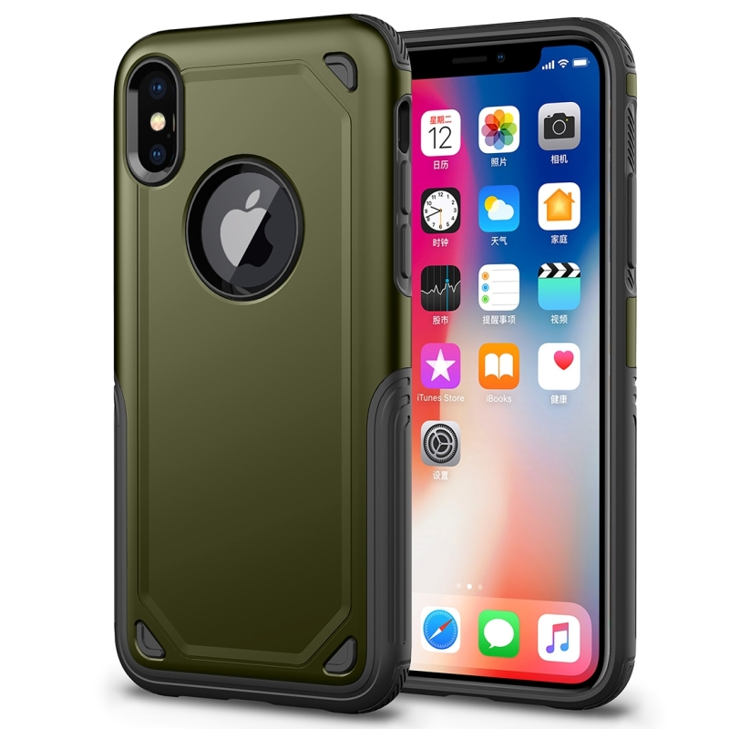 reputable site db716 ea348 For iPhone X Shockproof Rugged Armor Protective Case (Army Green)