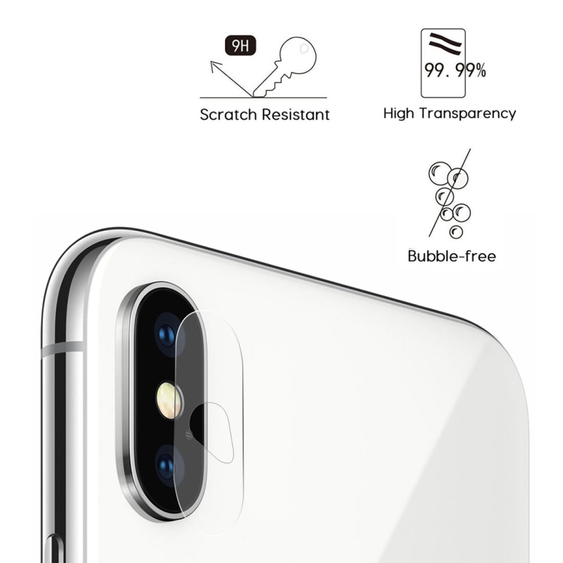 2 PCS ENKAY Hat-Prince for iPhone X 0.2mm 9H Hardness 2.15D Curved Explosion-proof Rear Camera Lens Protector Tempered Glass Protective Film