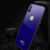 JOYROOM Licai Series for iPhone X TPU + PC + 8H Hardness Explosion-proof Mirror Tempered Glass Cover Back Case (Blue)