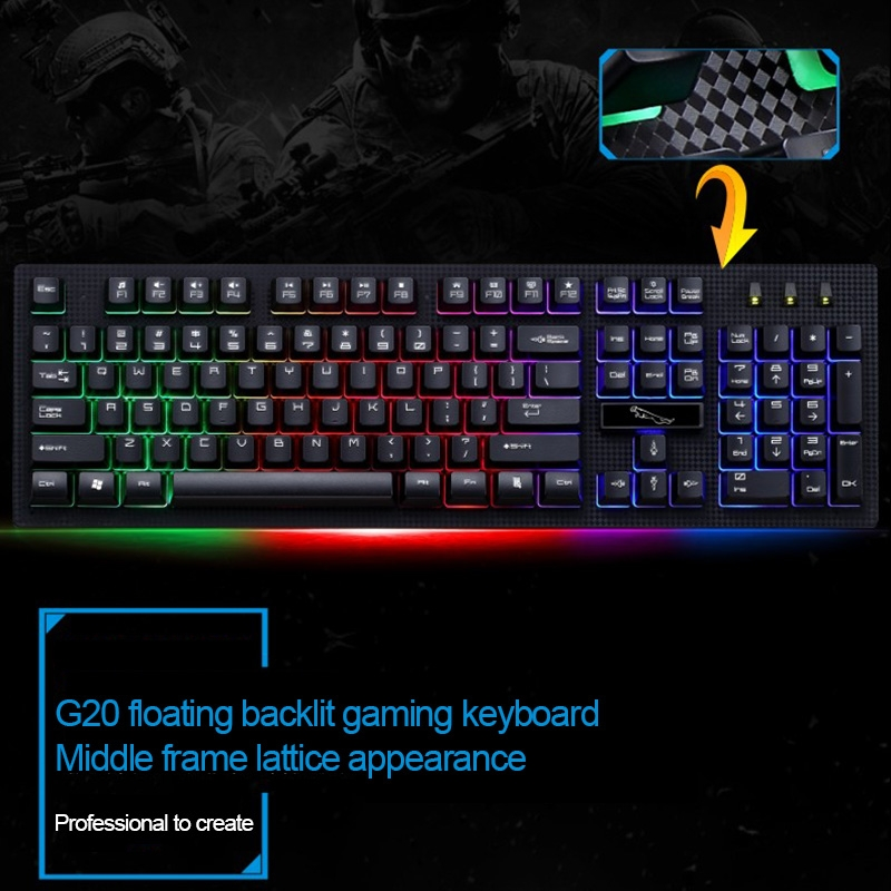 KANEED ZGB G20 1600 DPI Professional Wired RGB Backlight Mechanical Feel Suspension Keyboard Color : White Black Gaming Keyboard Optical Mouse Kit for Laptop PC