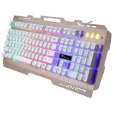 ZGB G700 104 Keys USB Wired Mechanical Feel RGB Backlight Metal Panel Suspension Gaming Keyboard with Phone Holder (Gold)