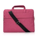Portable One Shoulder Handheld Zipper Laptop Bag, For 11.6 inch and Below Macbook, Samsung, Lenovo, Sony, DELL Alienware, CHUWI, ASUS, HP (Magenta)