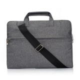 Portable One Shoulder Handheld Zipper Laptop Bag, For 13.3 inch and Below Macbook, Samsung, Lenovo, Sony, DELL Alienware, CHUWI, ASUS, HP (Grey)