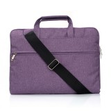 Portable One Shoulder Handheld Zipper Laptop Bag, For 13.3 inch and Below Macbook, Samsung, Lenovo, Sony, DELL Alienware, CHUWI, ASUS, HP (Purple)