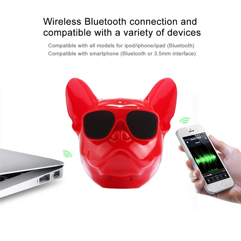 AEROBULL Bulldog Fashion Portable Bluetooth Wireless Stereo Speaker, Support Aux Input & TF Card, For Mobile Phones / Tablets / Laptops, Support TF Card & AUX Input, Bluetooth Distance: 10m (Red)