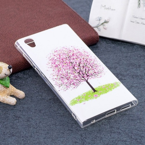 For Sony Xperia L1 Noctilucent Cherry Tree Pattern TPU Soft Back Case Protective Cover