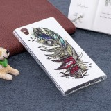 For Sony Xperia L1 Noctilucent Feather Pattern TPU Soft Back Case Protective Cover