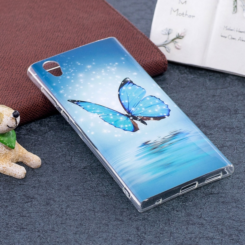 For Sony Xperia L1 Noctilucent Butterfly Pattern TPU Soft Back Case Protective Cover