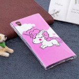 For Sony Xperia L1 Noctilucent Pink Horse Pattern TPU Soft Back Case Protective Cover