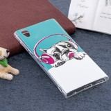For Sony Xperia L1 Noctilucent Headphone Dog Pattern TPU Soft Back Case Protective Cover