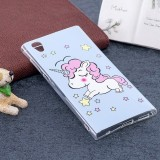 For Sony Xperia L1 Noctilucent Blue Horse Pattern TPU Soft Back Case Protective Cover