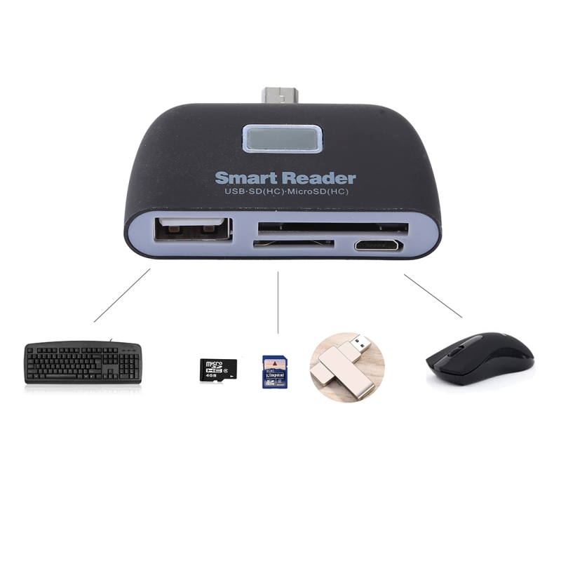 Micro SD + SD + USB 2.0 + Micro USB Port to Micro USB OTG Smart Card Reader Connection Kit with LED Indicator Light (Black)