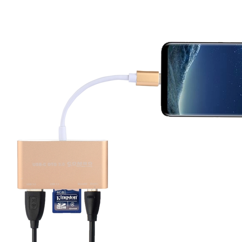 5 in 1 Micro SD + SD + USB 3.0 + USB 2.0 + Micro USB Port to USB-C / Type-C OTG COMBO Adapter Card Reader for Tablet, Smartphone, PC (Gold)