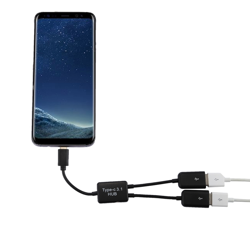 Portable USB-C / Type-C Male to Dual USB Ports Female HUB Adapter for Macbook, PC, Laptop, Tablet, Smartphone