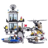 6726 536 PCS Brick Blocks Police Series Building Blocks Water Police Station Helicopters Boats Model Self Locking Bricks Toys Educational Gift (Minimum Age: 6+)