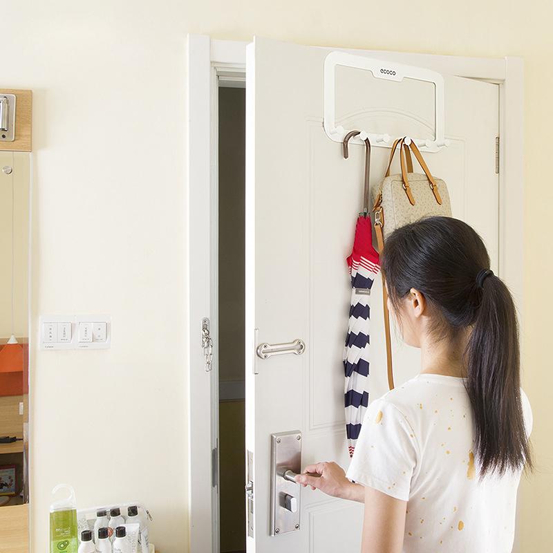6 Hooks Back Door Hanger Rack Bathroom Kitchen Organizer Hanger Hooks Home Storage Rack Holder for Clothes Cabinet Draw Door