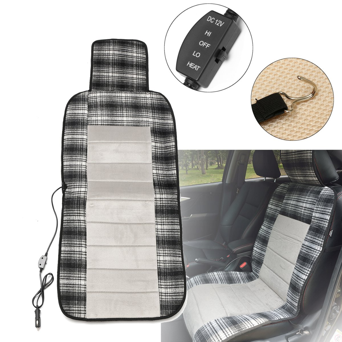 Universal Single Car Electric Heated Cushion Winter 12V Car Heated Pad Cover Keep Warm Seat Cushion