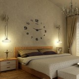 Large Wall Clock Decorative 3D DIY Luxurious Silent and Modern Home Decorations Mirror Surface