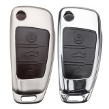 3 Button Car Metal Remote Key Fob Chain Shell Case Cover For Audi A1 A3 A6 S3 Q3 Q7